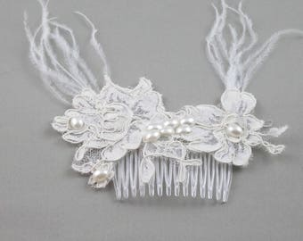 Lace Ecru lace ivory wedding hair comb