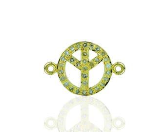 14K Yellow Gold Diamond Peace connector
