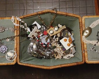 Vintage Picnic Basket Full Of Grandma's Jewelry