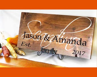 Family Name Sign, Custom Wood Signs, Family Christmas Gift,  Wedding Established Sign, Rustic Wood Sign, Wedding Gift, Personalized Signs