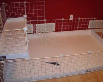"2x4 bottom 2x1 top CC Guinea Pig Cage 14""x14"" Wire Grid Panel Cage with Corrugated Plastic Rabbit Hedgehog 4 Panels Long 2 Panels Wide"
