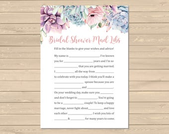 Succulent Bridal Shower Mad Libs Printable Game, Succulent Mad Libs Activity, Succulents Floral Game, DIY Mad Libs, Instant Download, 128-W