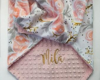 Personalized Baby Blanket - Minky Baby Blanket - Baby Blanket with Name - Monogram Baby Blanket  - Floral Baby Blanket - Baby Girl Blanket