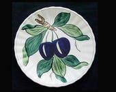 """8"""" Blue Ridge Plate Jubilee Fruits PLUMS 8.25"""" Salad Purple Fruit Handpainted Colonial Dinnerware  (B16) 6617"""