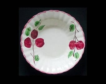 "Blue Ridge Bowl CRAB APPLE 9"" Round Vegetable Serving Dish Vintage Pottery Southern Potteries Crabapple Red Fruit Dinnerware (B02) 6601"