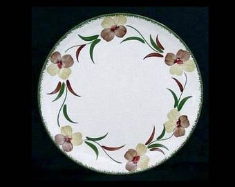"Blue Ridge Plate FLOWER FANTASY 9.25"" Lunch Southern Potteries Hand Painted Syline Dinnerware Green Brown Flowers (B27) 5926"
