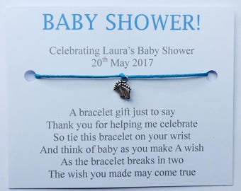 5 x Personalised Baby Shower Wish Bracelets Favours/Gifts (Plain Design)
