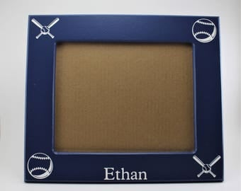 8x10 picture frame baseball picture frame blue white picture frame custom picture frame wood picture frame sports picture frame