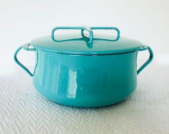 Dansk Kobenstyle Jens Quistgaard Aqua Turquoise Casserole Dutch Oven Made in Denmark Mid Century Enamel Cookware