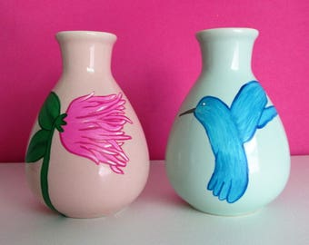 Hand-Painted Decorative Bottles featuring a Hummingbird and a Flower, set of 2