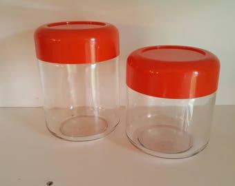 Heller Glass Jars - Bright Orange - Vintage Containers - 1960s - 1970s - Hellerware - Massimo Vignelli