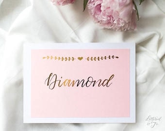 Wedding table names | handwritten | calligraphy | personalised | wedding stationery | gold foiled