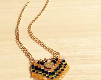 Navajo woven handmade pendant minimal necklace