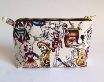 Cream Day of the Dead skeleton handmade fabric cosmetic  bag, pouch, purse for toiletries, makeup