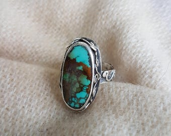 Turquoise Ring, Handmade Sterling Silver Turquoise Ring, Handmade Sterling Silver Ring, Gemstone Ring, Turquoise, Turkish Turquoise
