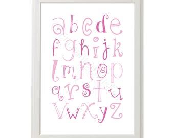 Alphabet Print, Nursery Print, Pink Alphabet Nursery Print, ABC Print, Pink Nursery Wall Art, Girl's Nursery Art, Pink Alphabet Poster