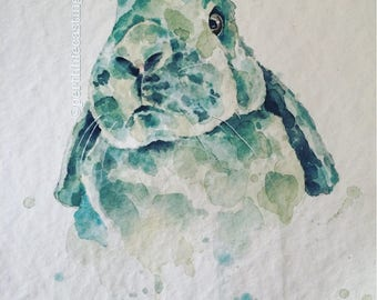 Watercolour Bunny Print