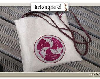 Suede bag embroided to wear on the shoulder, Art Nouveau pattern