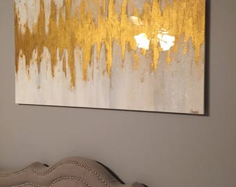SOLD! Original abstract painting with gold, glitter,  and hints if cream and gray with a resin coating.