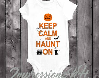 Halloween baby onesie and bodysuit-Keep Calm and Haunt on, 1st Halloween shirt