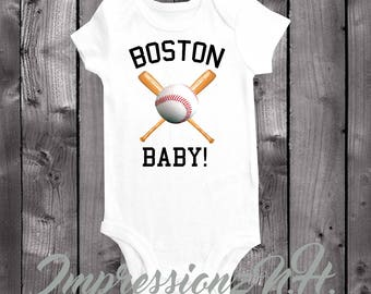 Boston baby baseball onesie- one piece baseball shirt