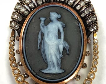 Victorian Cameo Pendant with Rose Cut Diamonds and a Pearl