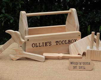 Troy - Custom Handmade Wooden Toy Tool Box w/ Tools (name optional)
