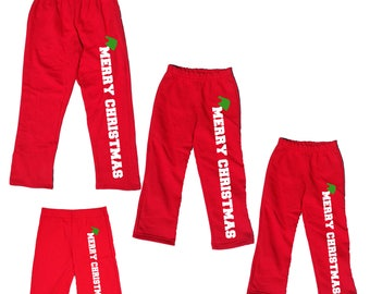 MERRY CHRISTMAS Red Pajama Pants for Family - Holiday PJ Pants for Men, Women - Playwear pants for kids