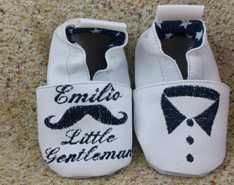 Baby shoes soft leather and leatherette, baby, boy, girl, child, personalized, little gentleman moustache