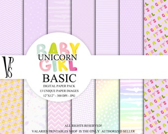 Baby Girl Basic Digital Paper Pack  Instant Download Printable Baby Girl Nursery Baby Shower Purple Basic Rainbow DIY Dots CAS ClipArt 12x12