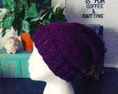 Silky soft purple knit slouchy hat