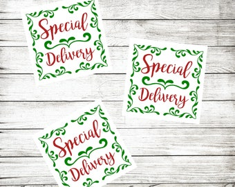 Special Delivery Christmas Stickers - Holiday Packaging Stickers - Red and Green - Pretty Package Label - Christmas Gift Wrap - Gift Sticker