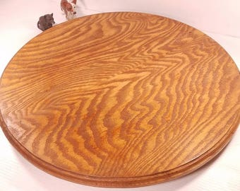 Extra Large Solid Oak Lazy Susan, 22 Inch Diameter, 2.5inch Tall, Vintage