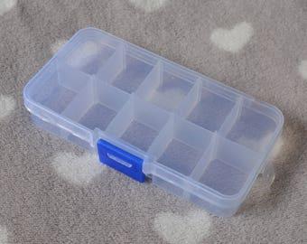 Adjustable 10 compartment storage box