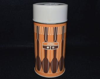Vintage Thermos 1 PT Size, Retro Orange Brown Thermos, Fork and Spoon Pattern, King-Seeley Thermos Co 1971, Old School Thermos w Cup and Lid