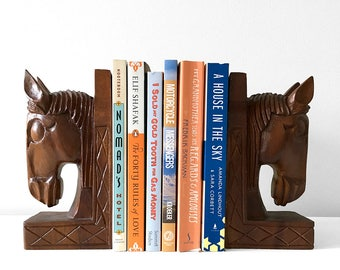 Pair of Vintage, Mid-Century, 1950's, 1960's, Carved, Wood, Horse Head, Bookends