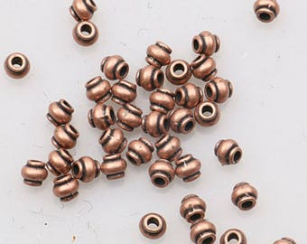 antiqued copper color 4mm lantern shaped spacer beads H0374