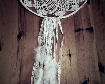 Dream catcher lace wool beads and feathers