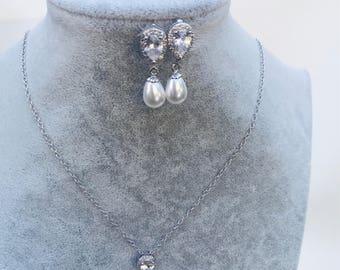 Wedding jewellery, necklace set, pearl jewellery set, pearl necklace, pearl drop earrings, bridesmaid jewellery, gift ideas,