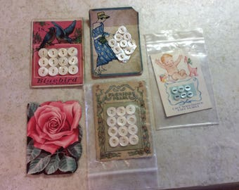 Antique and Vintage Illustrated Button Cards and Rose Needle Card with Needles
