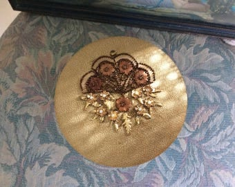 Fabulous Vintage Powder Box with a Gold Fabric Top Adorned with Antiq. Appliques and metal flowers and leaves