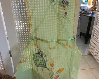 Art Deco Pinafore Apron, Flapper, Bird, Bird Cage, Flowers, Silk Ribbons, Mint Cond.!