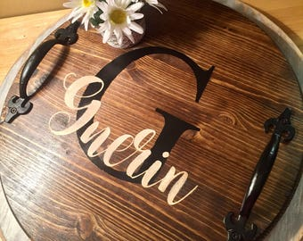 Personalized Tray, Wood Tray, Serving Tray, Serving Tray With Name, Monogrammed Tray, Farmhouse Tray
