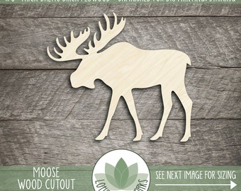 Wood Moose Shape, Wooden Moose Cutout, Moose Cabin Decoration, Unfinished Wood For DIY Projects, Many Size Options, Moose Wall Decor