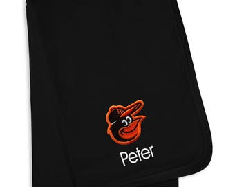 Personalized Baltimore Orioles Baby Blanket Black