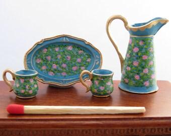 Hand-Painted Dollhouse Miniature Jug, Mugs & Platter Set - Turquoise