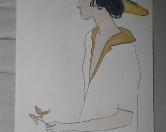 Watercolor painting, of seated lady with leaf