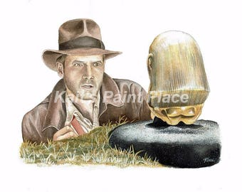 Indiana Jones and the Idol - Watercolor Print
