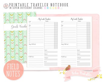 Pocket Goal Tracker Traveler Notebook Refill. Field Notes Printable TN PDF for Personal Use. Small Routine Log, Weekly Habit Tracker Inserts
