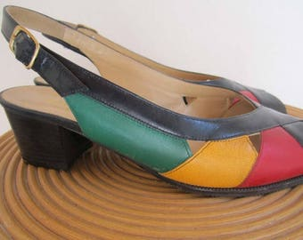 Vintage 80s colorful shoes Sandals ara 6/39